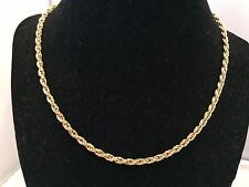 VTG. CROWN TRIFARI SHINY GOLD TONE TWISTED 1 STRAND CHAIN NECKLACE~
