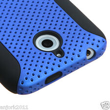 HTC Desire 510 Hybrid Mesh Case Perforated Skin Cover Blue Black