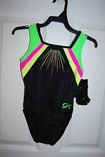 GK Elite Gymnastics Leotard - Child Medium - Black/Neon