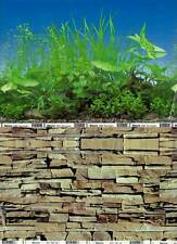 "Aquarium Fish Tank Background Picture ""Rock Wall/Water Tree"" 2 Sided (H)12""/30cm"