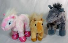 Lot Of 3 Small Horses Ponies Stuffed Animal Plush Child Kid Toy Pretend