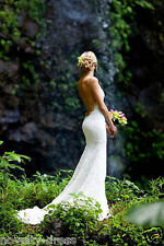 Backless V-Neck Lace Wedding Dress Bridal Gown Custom Size 4 6 8 10 12 14 16 18+