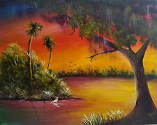 Florida Art Original Painting Highwayman Style Fire Sky Sunset