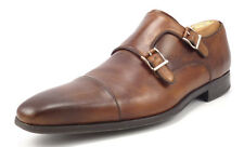 Magnanni Men's Shoes Size 9.5 Leather Double Monk Strap Loafers Brown