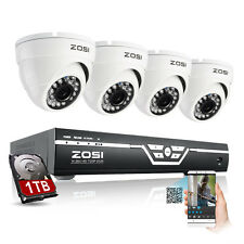 ZOSI 8CH 720P AHD DVR 1500TVL Outdoor CCTV Security Cameras System 1TB HDD