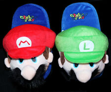 "Nintendo Super Mario Brothers Bros 11"" Mario + Luigi Adult Soft Plush Slippers"