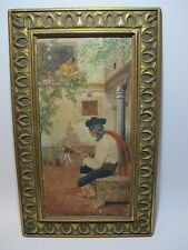 Antique Spanish oil on canvas painting, signed # D177b