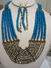 Turquoise Multi Layers Two Tone Faceted Metal Bead Wood Bead Necklace Earring