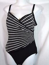 FANTASIZER Sz 8 Womens Black & White Striped One Piece Swimsuit  Slimming Suit