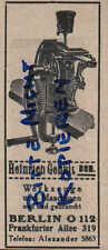 Werbung: BERLIN,1928, Heinrich Genuit sen. Werkzeuge und Maschinen neu/gebraucht