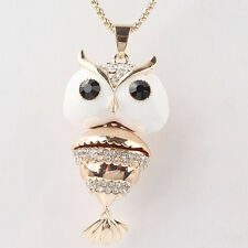 "Women 14k Gold Filled 30"" Dress Chain Pendant White Enamel Owl Necklace JD1970"