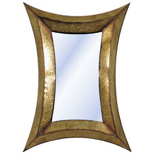 Large Contemporary Abstract Soft Mottled Bronze/Gold Metal Mirror