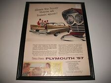 "1957 PLYMOUTH  ORIGINAL PRINT ADVERTISEMENT ART COLLECTIBLE ""THRILL-POWER"""