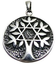 Solid 925 Sterling Silver Star of David Tree of Life Magen David Pendant 4.4gram