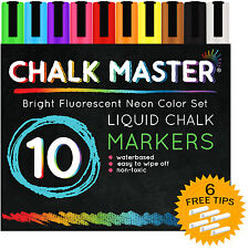 10 Color 6mm Chalkmaster® Liquid Chalk Markers Neon Pen Set + 6 Reversible Tips