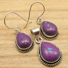 925 Silver Plated Natural PURPLE COPPER TURQUOISE Earrings MADE IN INDIA Gift