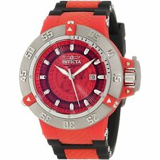 New Mens Invicta 10106 Subaqua Noma III Bold Red Dial Black Strap Sport Watch