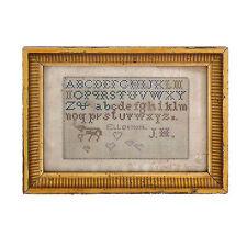 Antique 19th c. Punch Paper MINIATURE Needlework Embroidered Sampler ~ AAFA