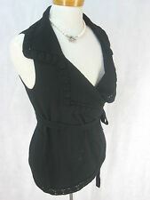 Sz 42 12 14 Anne Fontaine Designer Black Wrap Vest