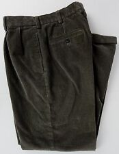 Brooks Brothers Elliot 34X30 Corduroy Pants Olive Khaki Pleated Cuffed Wide Wale