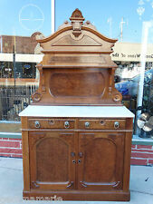 Victorian antique Walnut Marble top Sideboard buffet cabinet with burl top