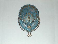 Vintage Aqua Blue Enamel PEACOCK Pin / Brooch SIAM STERLING SILVER Jewelry