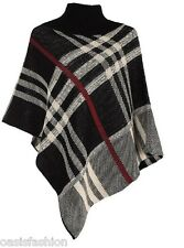 NEW IN LADIES TARTAN & PLAIN PONCHO KNITTED CAPE WRAP SHAWL ONE SIZE 8-14