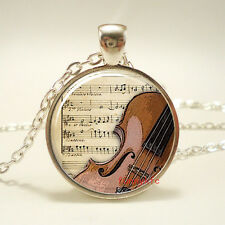 1pcs Vintage Cello Cabochon Silver plated Glass Chain Pendant Necklace