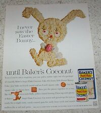 1962 ad page - Baker's angel flake Coconut CUTE bunny cake to make VINTAGE AD