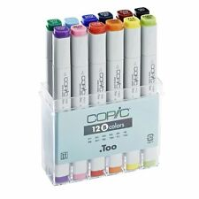 COPIC .TOO MARKER - 12 BASIC COLOURS SET - TWIN TIPPED - 12 UNIQUE COLOURS