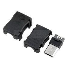 Micro 2.0 USB Typ B Stecker 5 polig zur Lötmontage / lötbar gerade schwarz