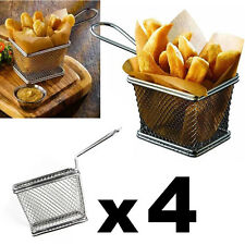 4pcs Mini Chrome Chip Fryer Basket Kitchen Pub Bar Restaurant Cafe Food Serving