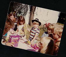 Vintage Photograph Adorable Little Boy in Cowboy Hat Cooties on Table in Yard