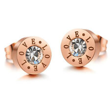 LOVE Engraved Rose Gold Plated Crystal CZ Ear Stud Womens Titanium Steel Earring