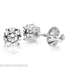 18Carat White Gold Diamond Solitaire Ear Studs 4-Claw 0.20 carats GVS
