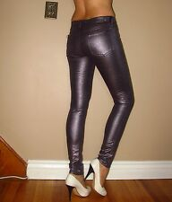 Seven 7 For All Mankind $198 Skinny Metallic Jeans Liquid Rose Leather-Look 30