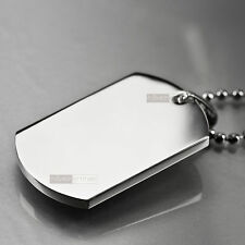 pendant necklace stainless steel plain silver dog tag engravable big new arrival
