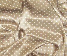 "Silk CHARMEUSE Fabric BROWN & WHITE POLKA DOTS 45"" by the yard"