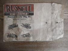 Russell Grader Minneapolis Antique Heavy Equipment Envelope Only 1910 ? Era
