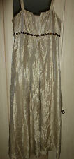 kaliko maxi dress jewelled quirky antique liquid gold fabric party prom 12 14
