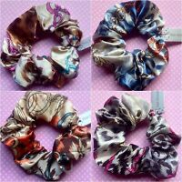 SATIN FABRIC ANIMAL LEOPARD & CHAIN PRINT HAIR SCRUNCHIE PONYTAIL BAND ELASTIC