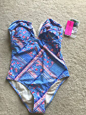 NEW NWT BETSEY JOHNSON 1 pc swim suit halter tank L LARGE floral lined