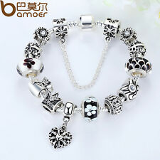 2015 Luxury Queen European Silver Bracelet DIY Christmas With Flowers Charm Bead