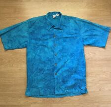 Private Stock Mens L Blue Button Dress Shirt Tropical Fish Underwater Shark