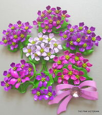 (8)pc 1950s 60s BOUQUETS of LAVENDER purple VIOLETS metal ENAMEL flower PIN LOT