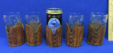 Vintage Tooled Leather Glass Holders Coasters & Coca Cola Glasses Lot of 9