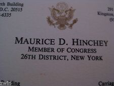 Maurice D. Hinchey business card U.S.A. member of Congress New York retiring