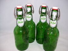 Grolsch Beer Lager 4 Green Bottles Glass Empty Resealable Swing Top Home Brew