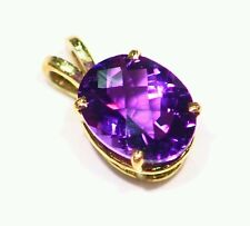 NEW 14K SOLID GOLD NATURAL AMETHYST OVAL CUT HALO ART DECO ENGAGEMENT NECKLACE