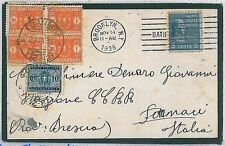 USA United States -  POSTAL HISTORY: MOURNING COVER to ITALY - TAXED on ARRIVAL